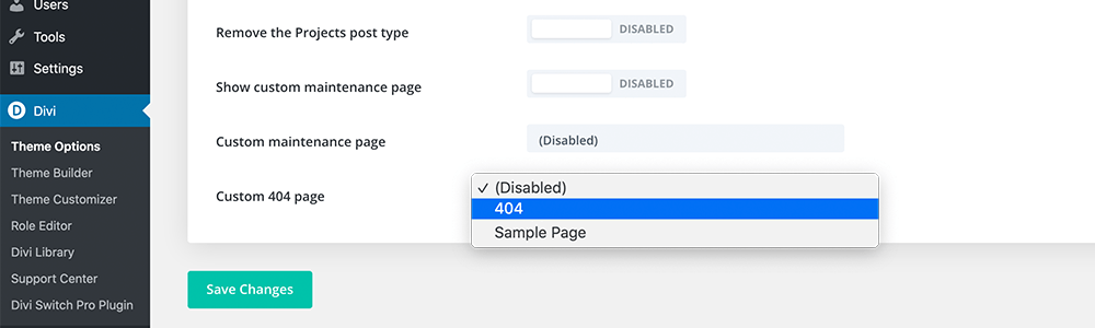Divi Switch 404 page selector