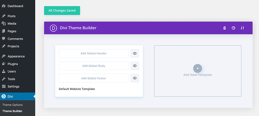 Divi theme builder add new icon