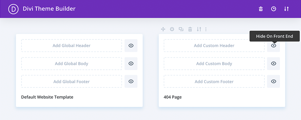 Divi hide on front end icon
