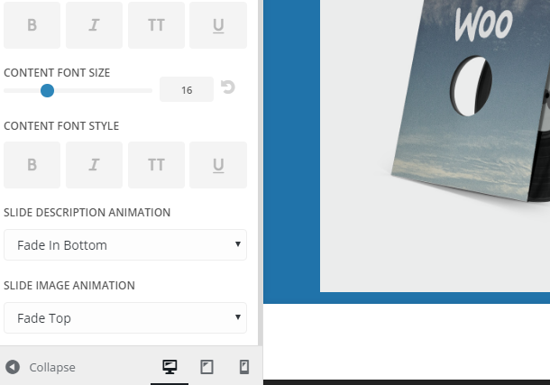 Adding a 'Slider Animations' section to the Theme Customizer