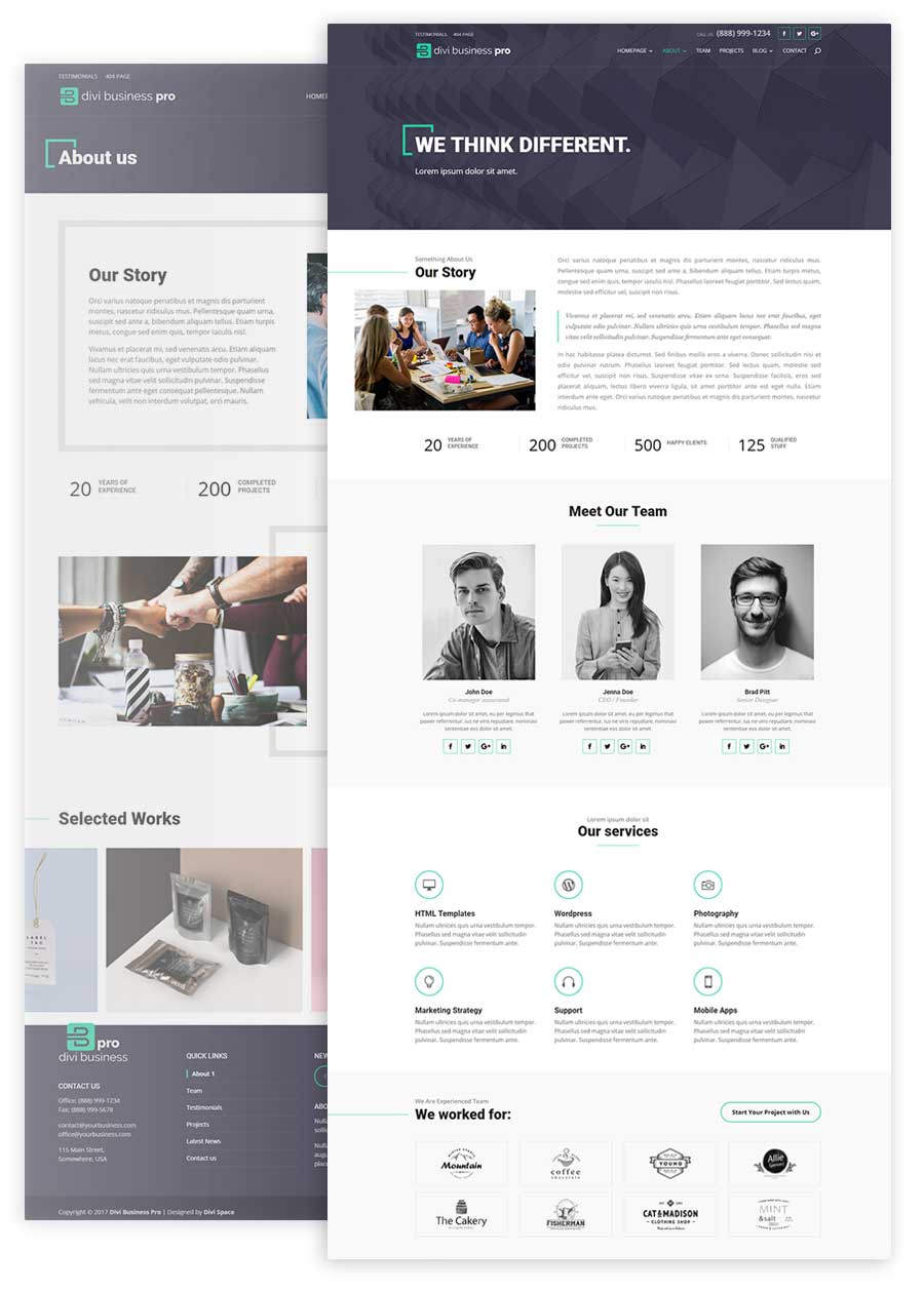 Divi Business Pro About Page