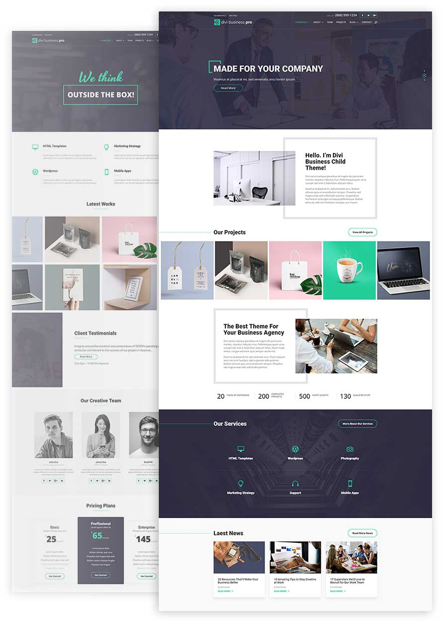Divi Business Pro Home Pages