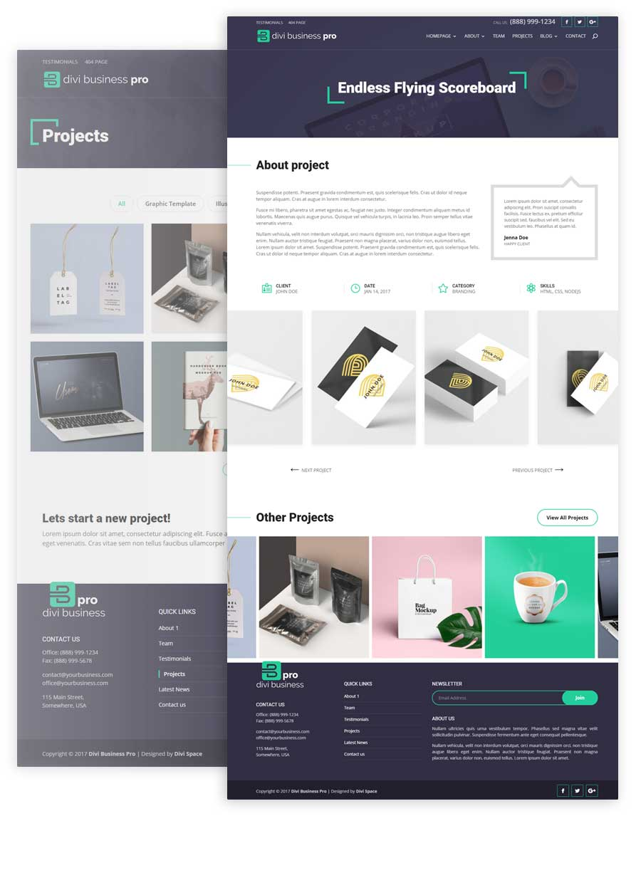 Divi Business Pro Project Pages