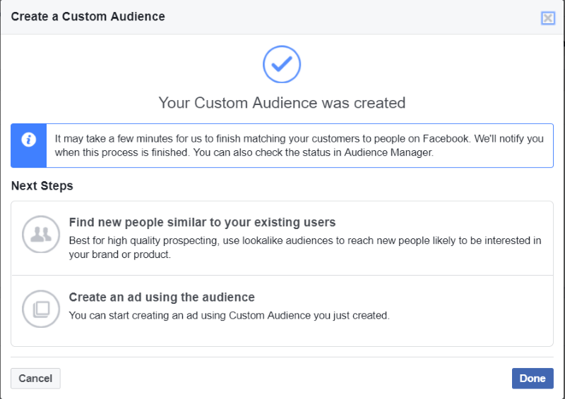 Create custom audience Facebook ads