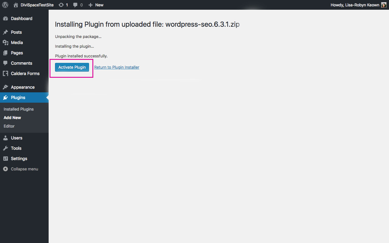 Activate New Plugin WordPress