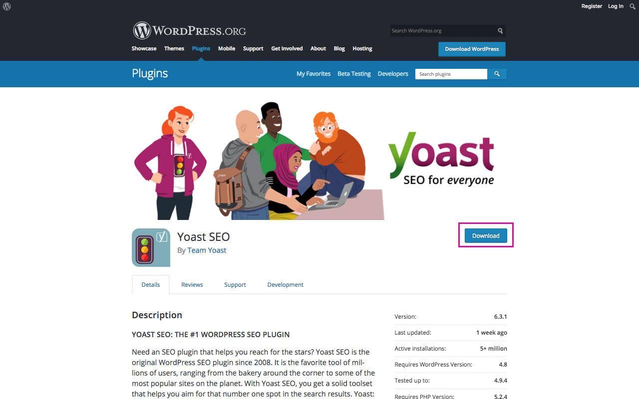 Download Yoast Plugin from WordPress Repository