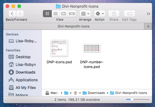 Divi Nonprofit Child Theme Icon Files