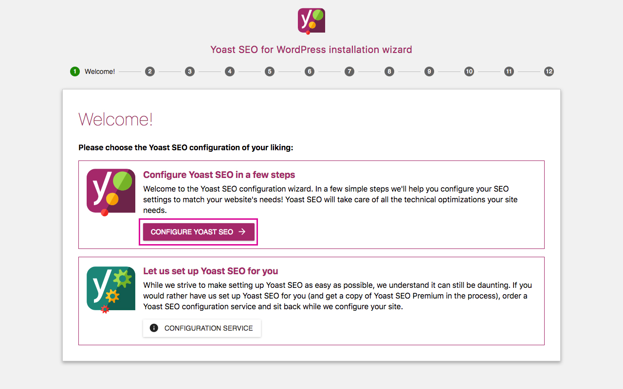 Yoast SEO Configuration Wizard 1 - Welcome
