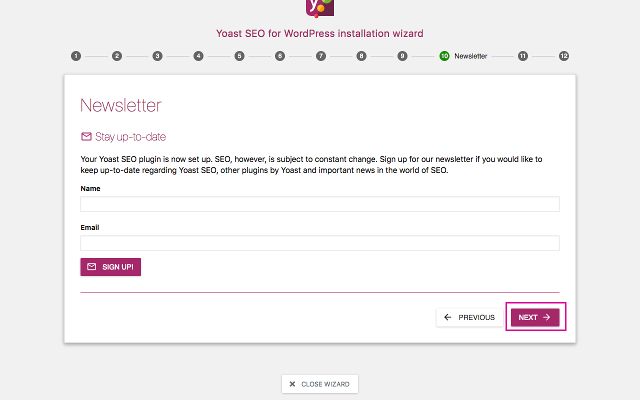 Yoast SEO Configuration Wizard 10 - Newsletter