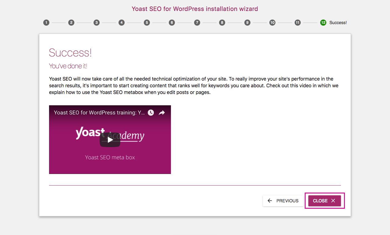 Yoast SEO Configuration Wizard 12 - Success