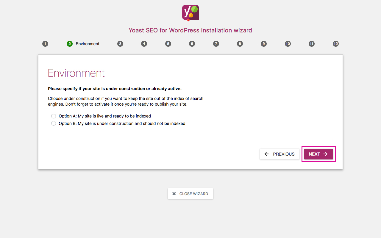Yoast SEO Configuration Wizard 2 - Environment