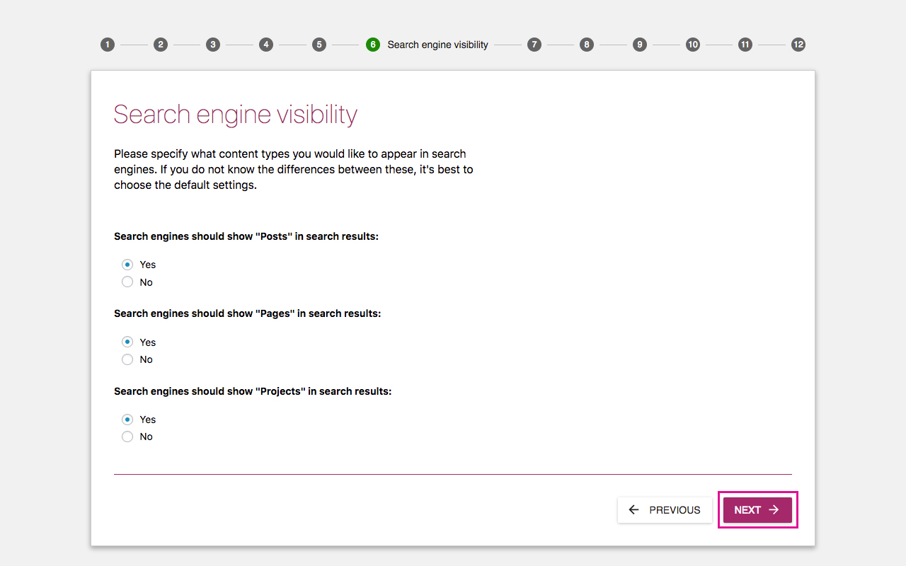 Yoast SEO Configuration Wizard 6 - Search Engine Visibility