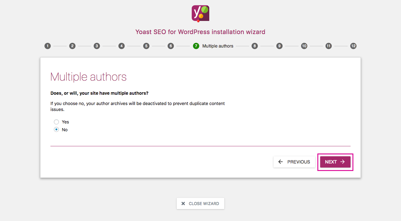 Yoast SEO Configuration Wizard 7 - Multiple Authors