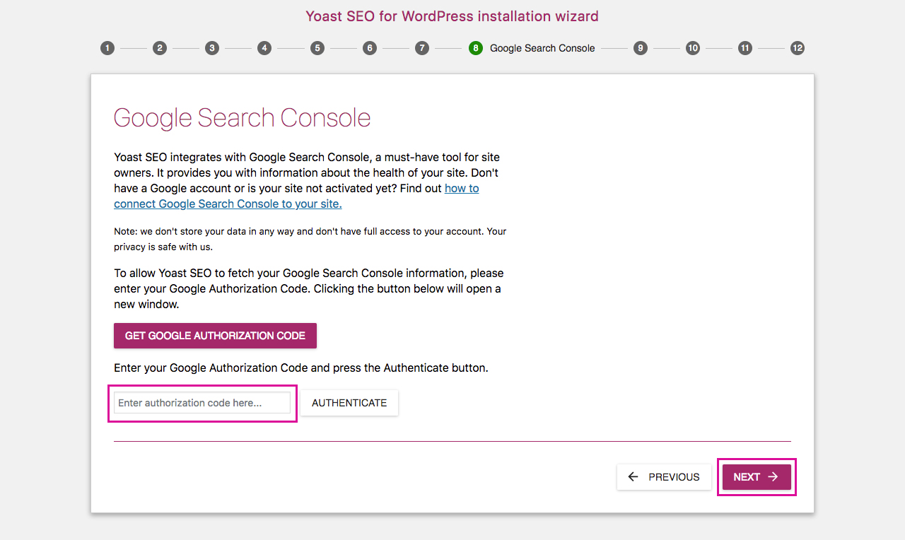 Yoast SEO Configuration Wizard 8 - Google Search Console