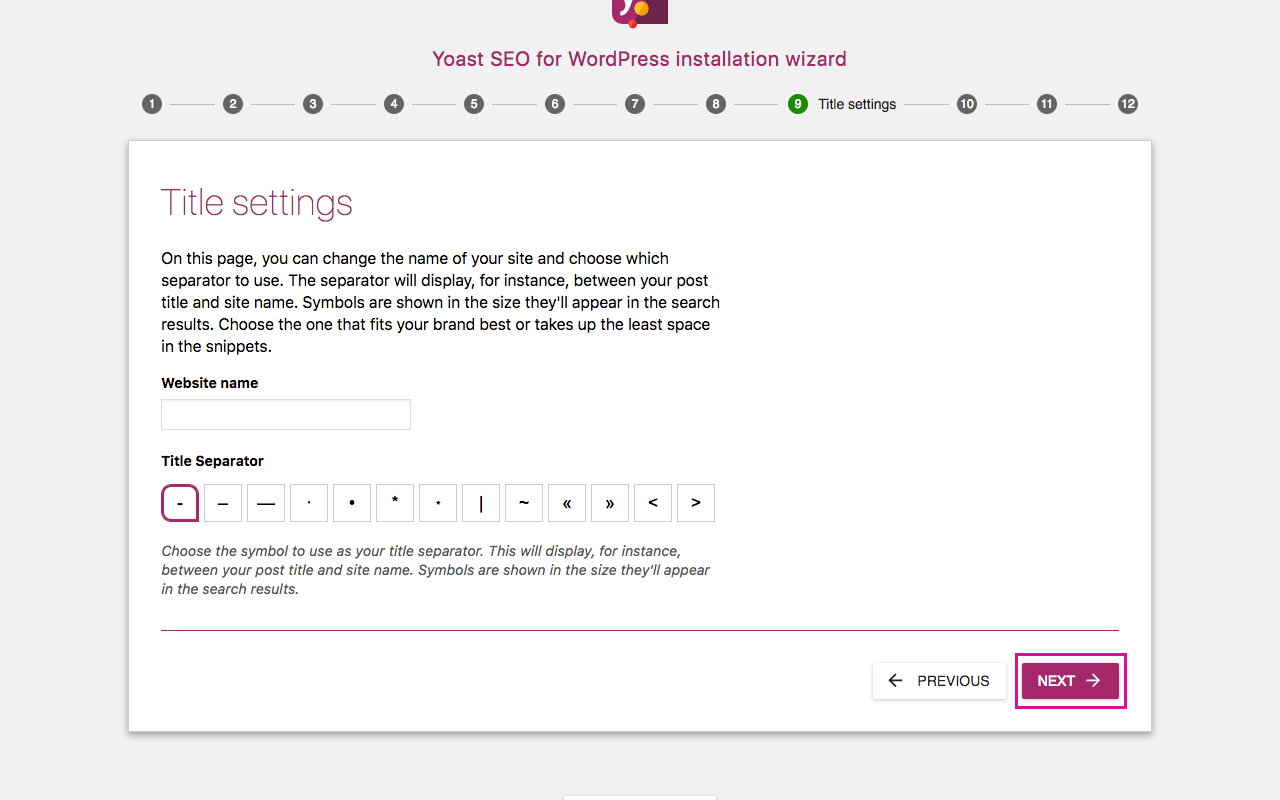 Yoast SEO Configuration Wizard 9 - Title Settings