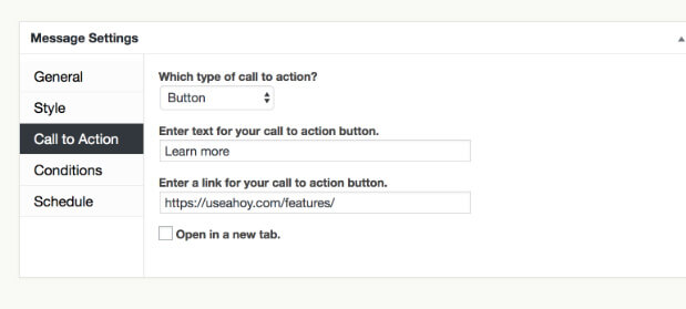 Ahoy Plugin for WordPress Call to Action