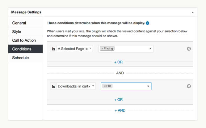 Ahoy Plugin for WordPress Conditions