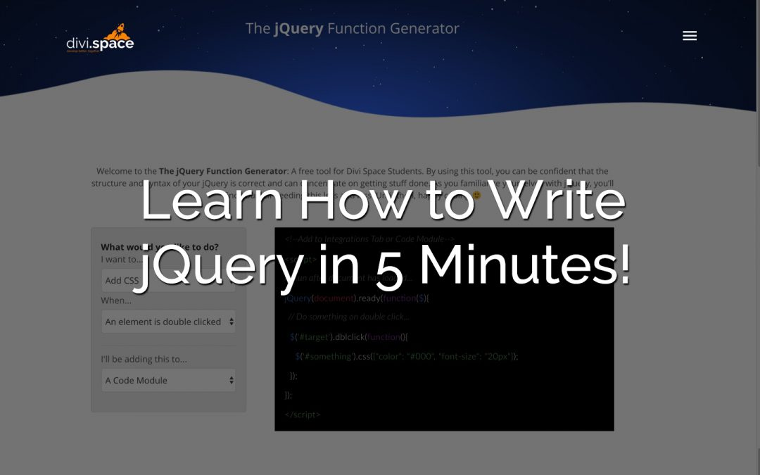 Learn to Write jQuery in 5 Minutes
