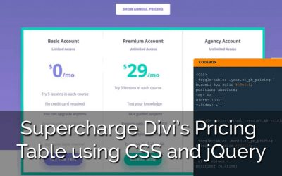 How to Supercharge Divi's Pricing Table using CSS and jQuery