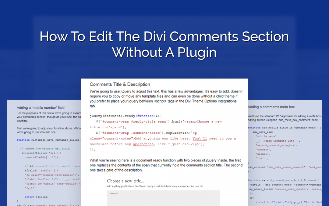 How to Edit the Divi Comments Section Without a Plugin