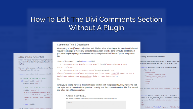 How To Edit The Divi Comments
