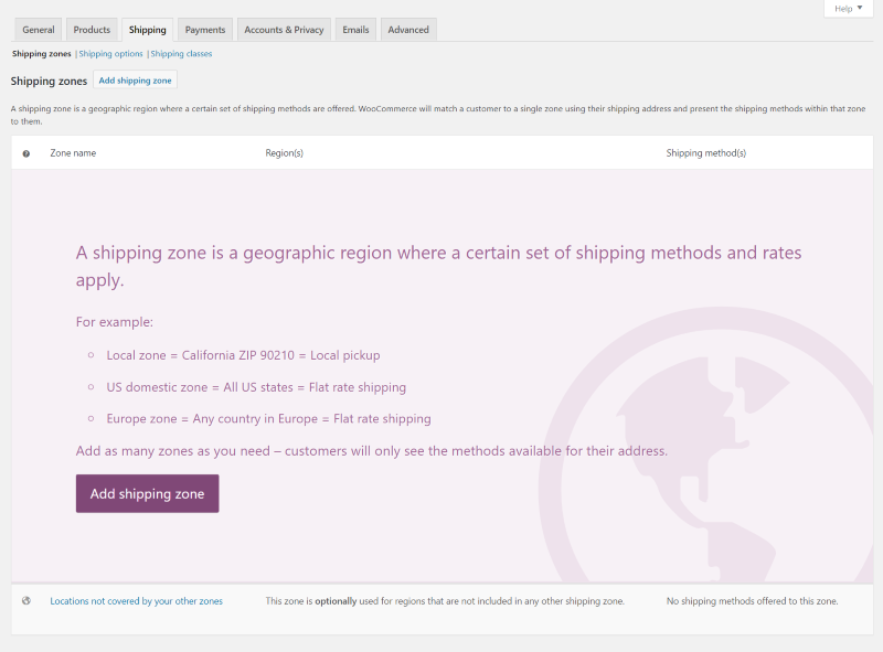 WooCommerce add a shipping zone