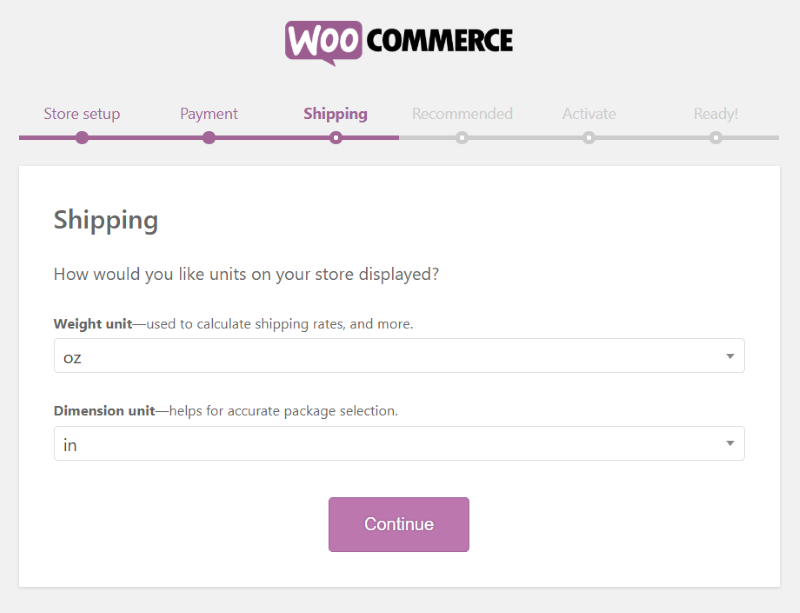 WooCommerce setup wizard Shipping settings