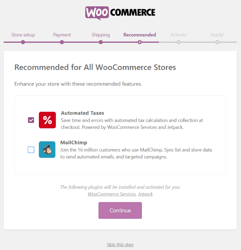 WooCommerce setup wizard Recommended settings