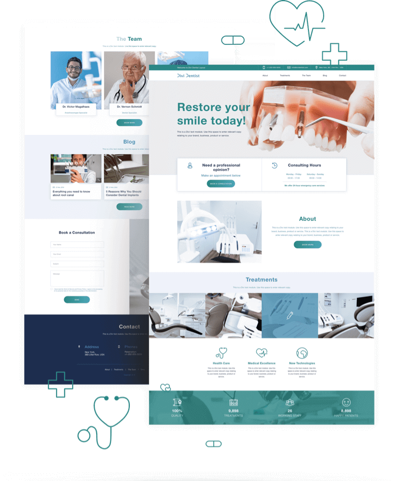Best Free Divi Layout Packs Dentist Layout from Divi Space