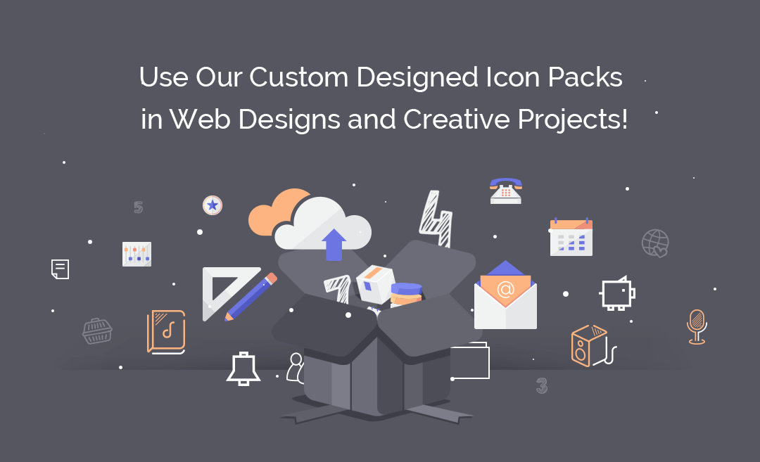 Use Our Custom Designed Icon Packs in Web Designs and Creative Projects!