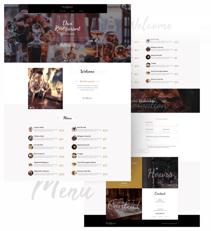 Best Free Divi Layout Packs Restaurant Layout from Divi Space