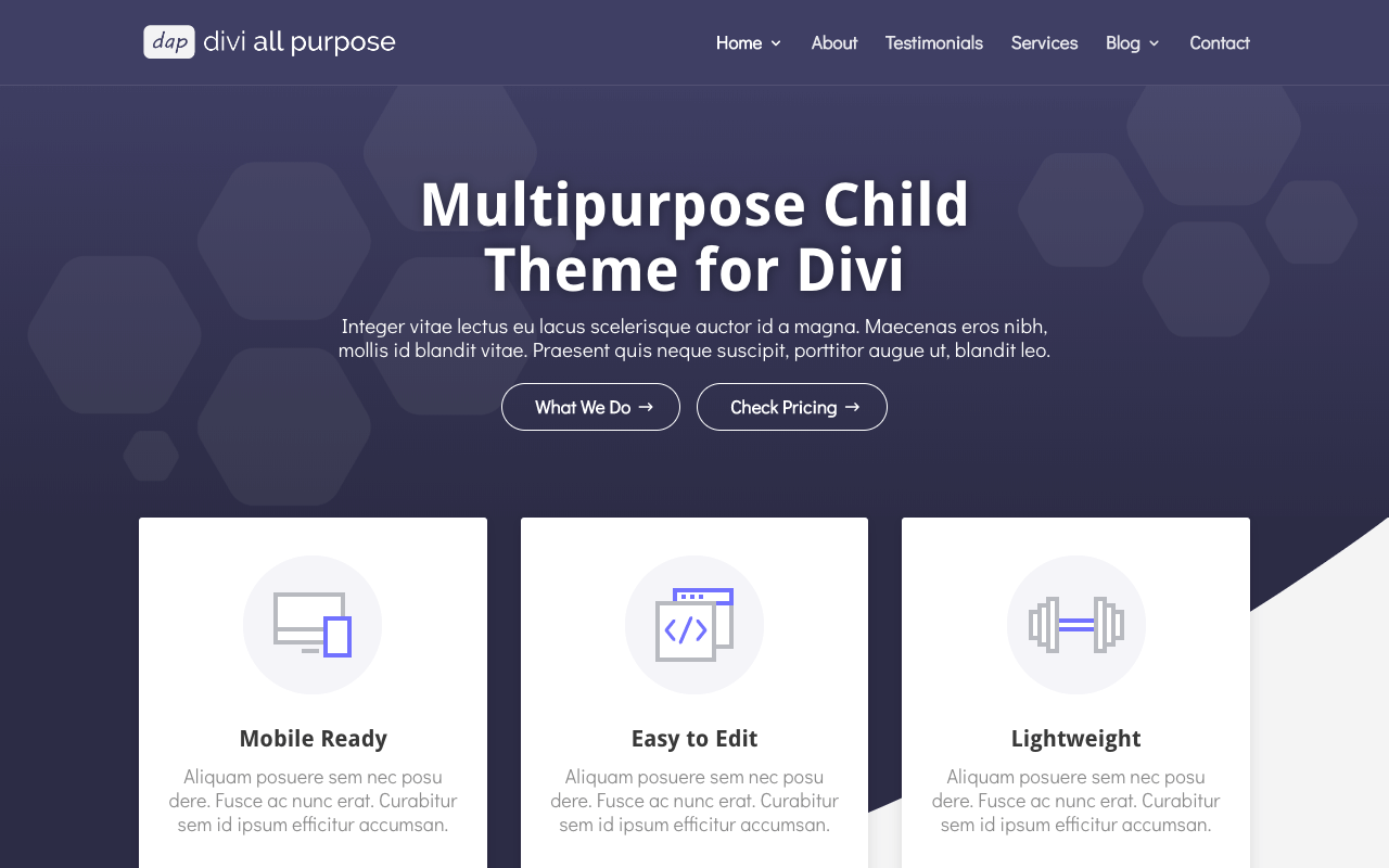 Free Divi Child Themes Divi All Purpose by Divi Space