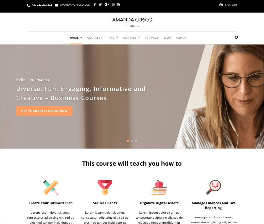 divi courses child theme homepage