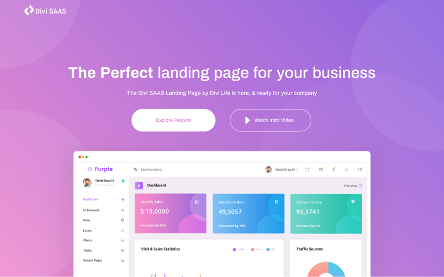 Best Free Divi Layout Packs SAAS Landing Page Layout from Divi Life