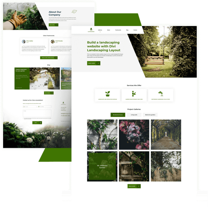Best Free Divi Layout Packs Landscaping Layout from Divi Space
