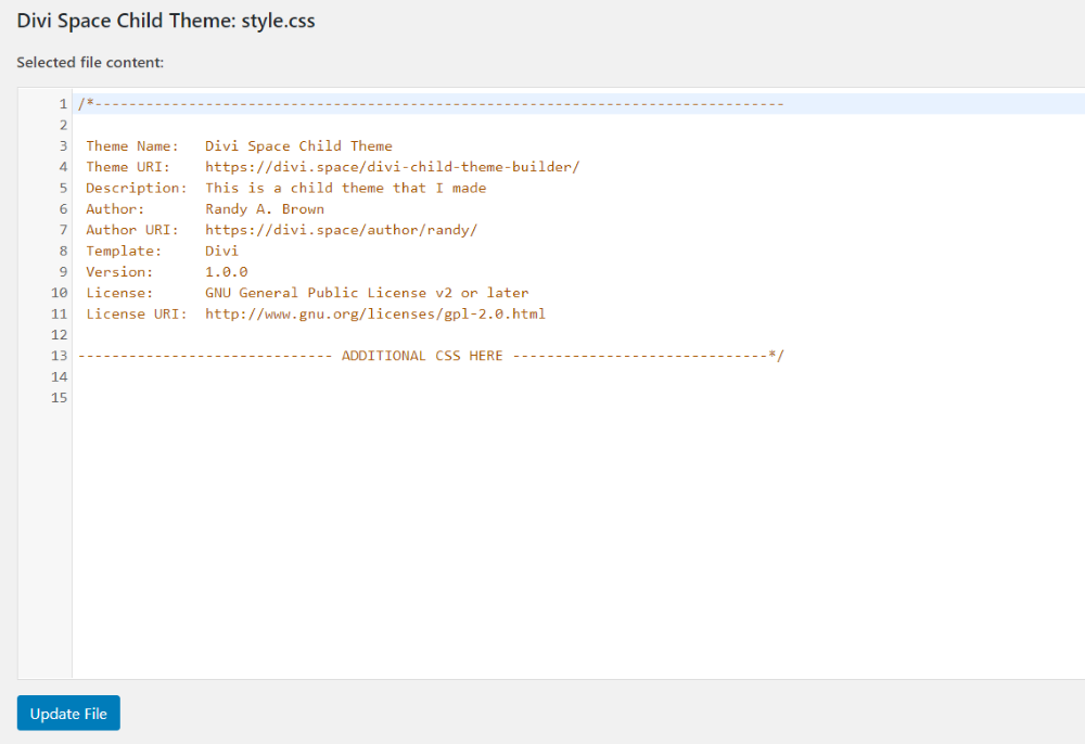 Change the theme's info in the style.css file 3