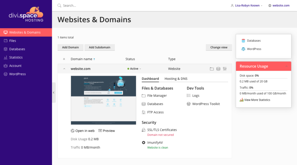 Divi Hosting home page main console