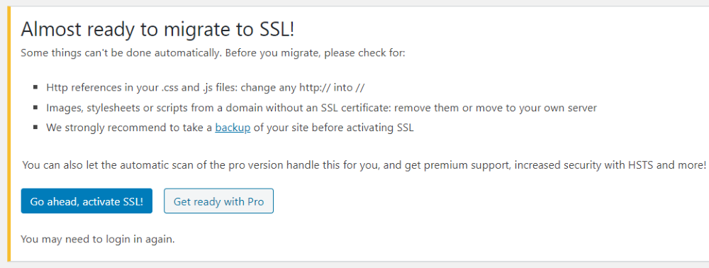 Activate SSL using the Really Simple SSL plugin