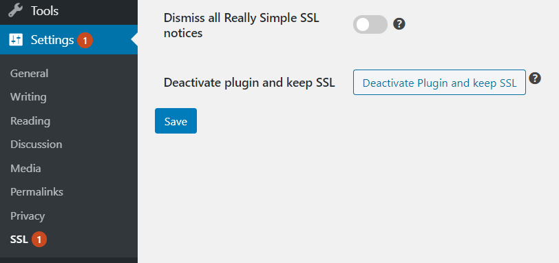 Deactivating the Really Simple SSL plugin