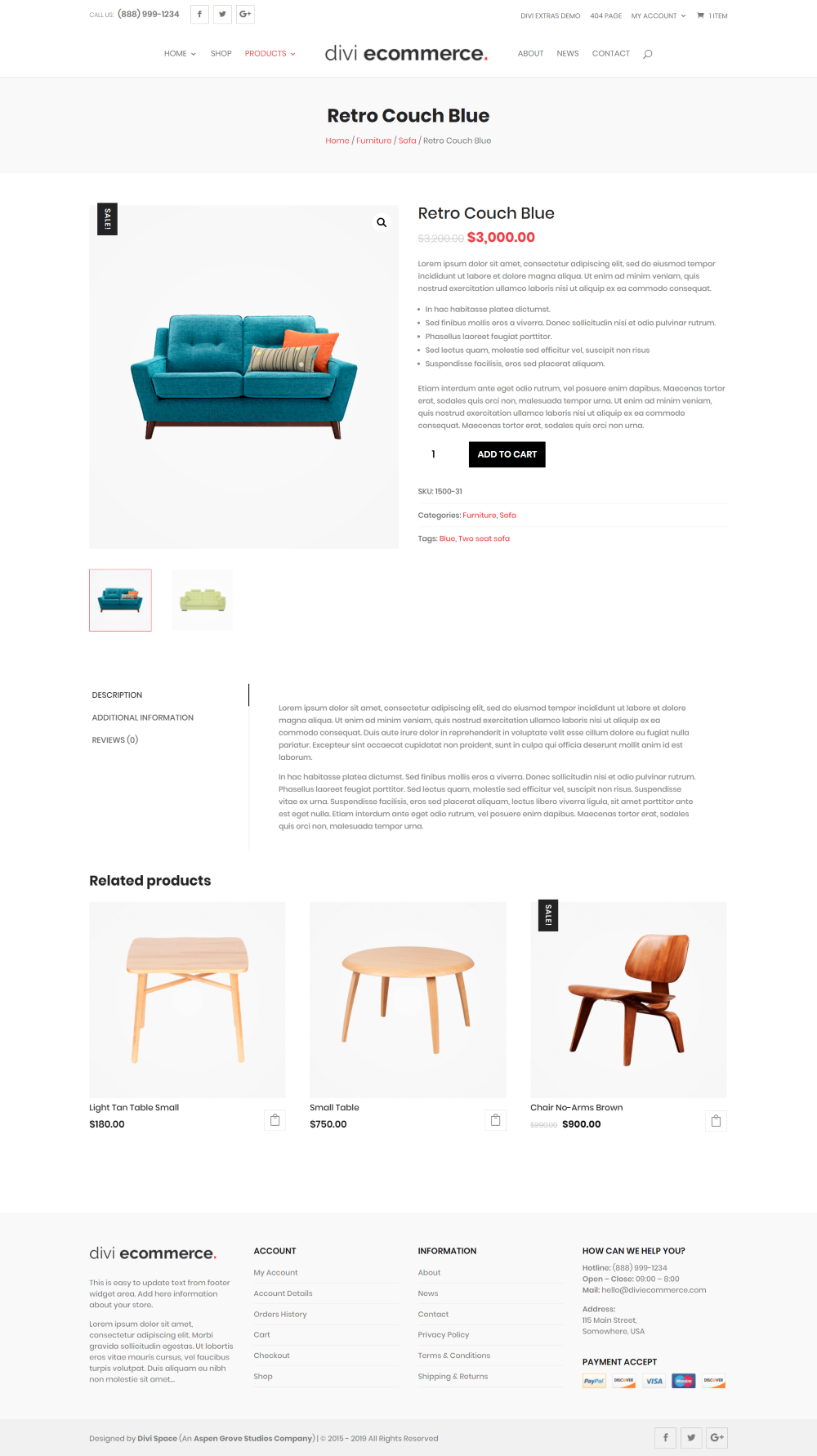 Divi Ecommerce Child Theme fullwidth product page layout