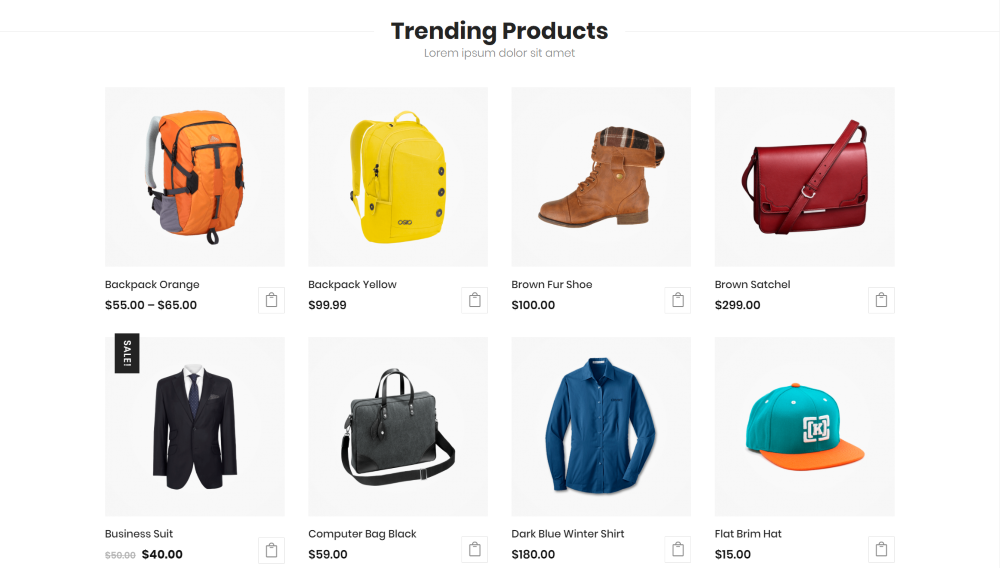 Divi Ecommerce Child Theme trending products