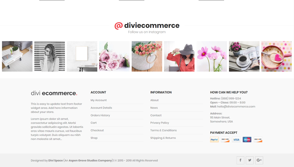 Divi Ecommerce Child Theme Instagram feed and footer