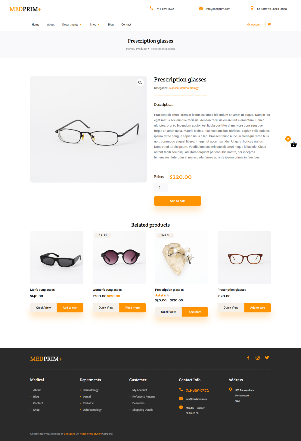 Divi Medical Ecommerce product page