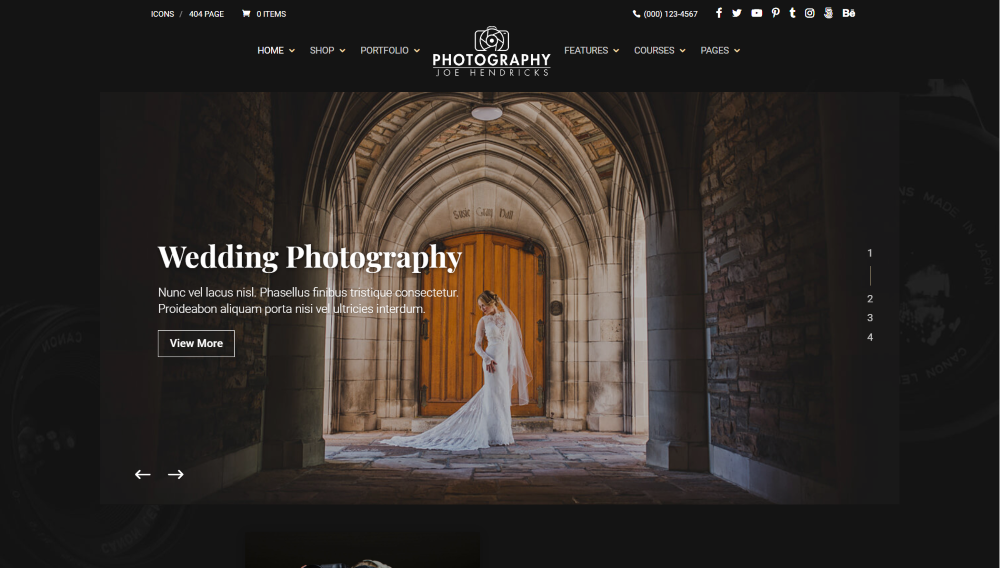 Divi Photography child theme above the fold