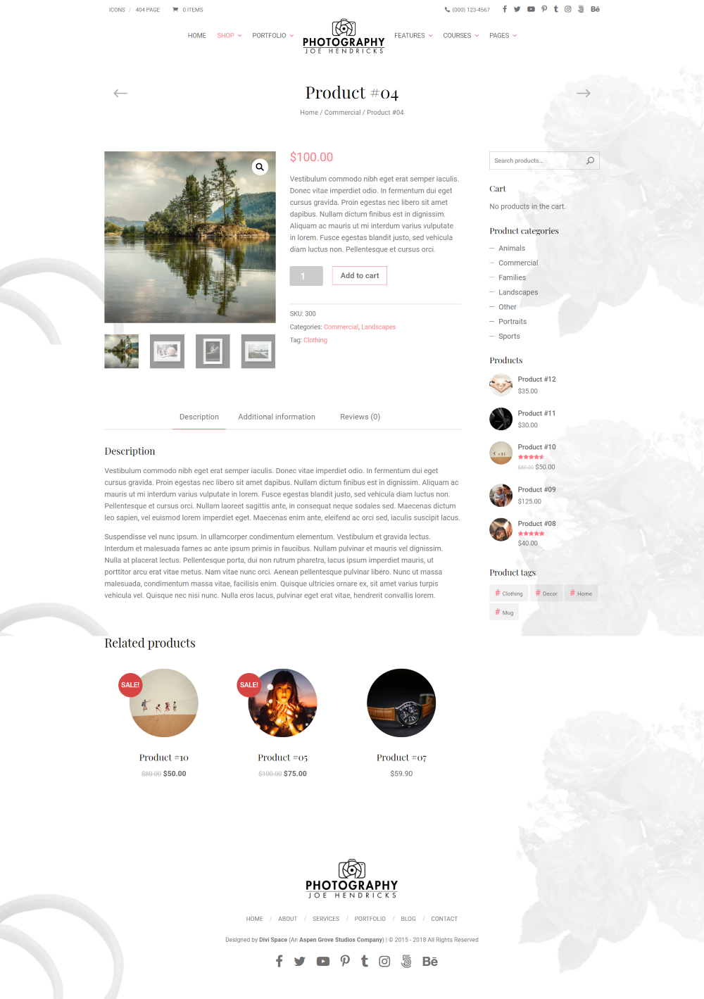 Divi Photography child theme product page