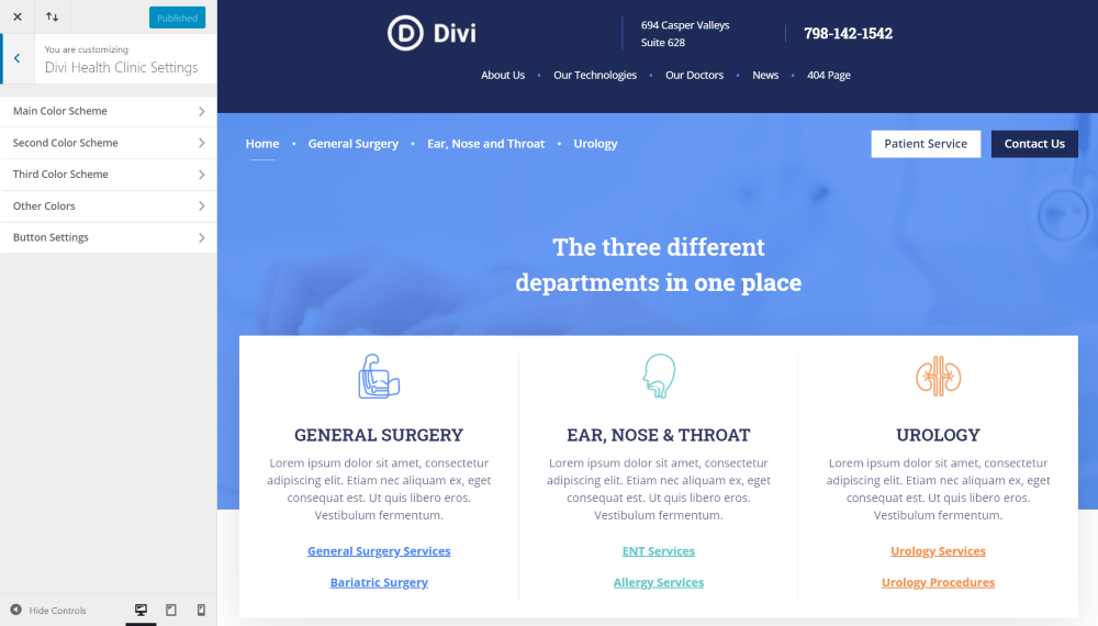 Divi Health Clinic Theme Customizer