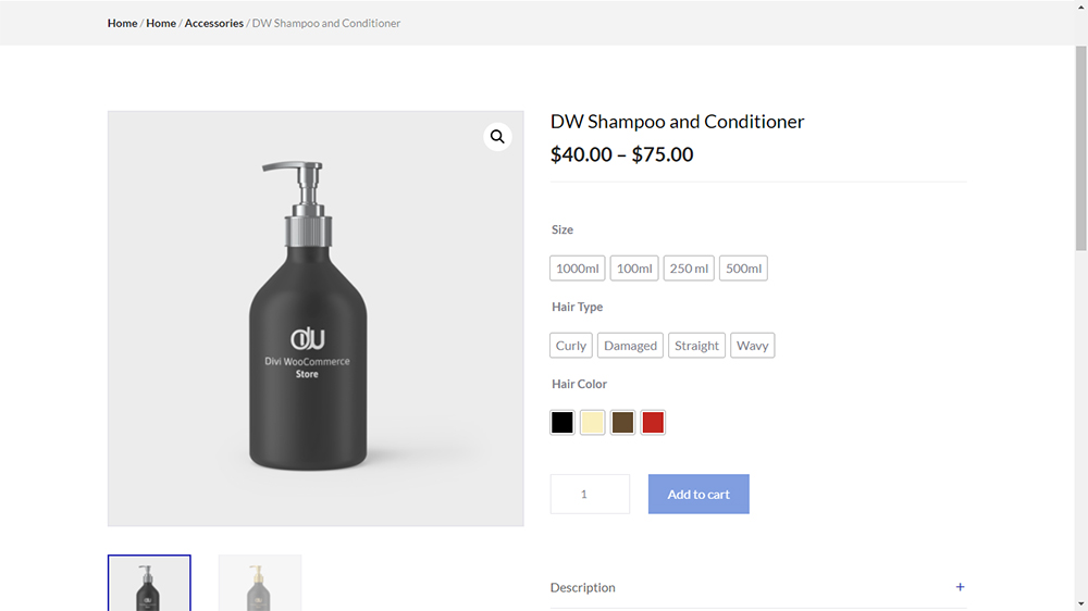 Divi WooCommerce Store Child Theme Variable Product Layout
