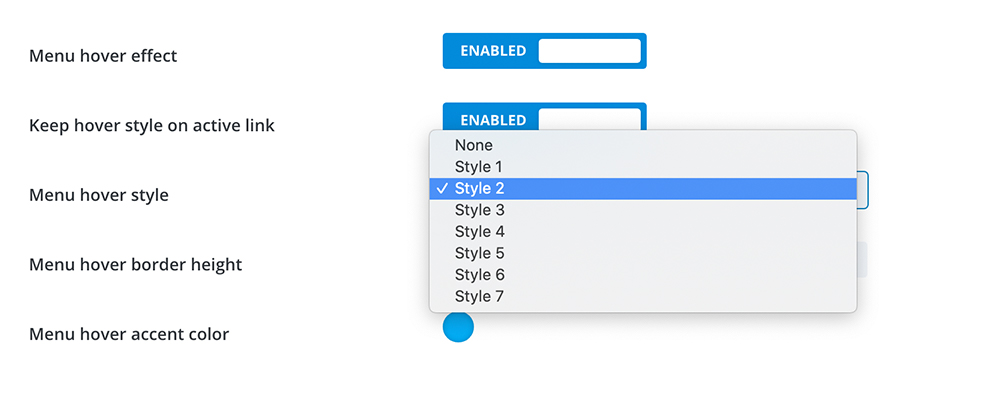 Divi Switch style selector dropdown menu