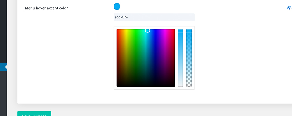 Color selector hover animation