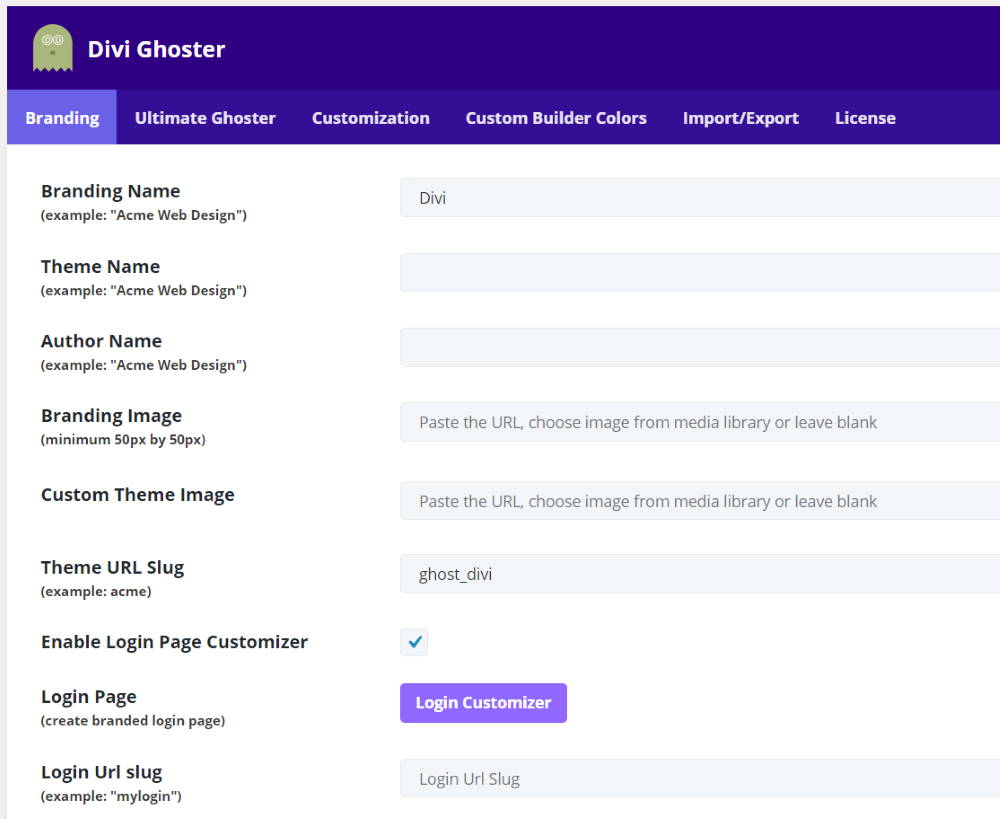Divi Ghoster Login Customizer